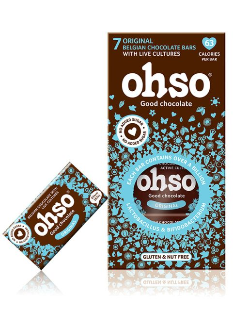 Ohso Original no added sugar. Good chocolate. probiotic Belgian Chocolate