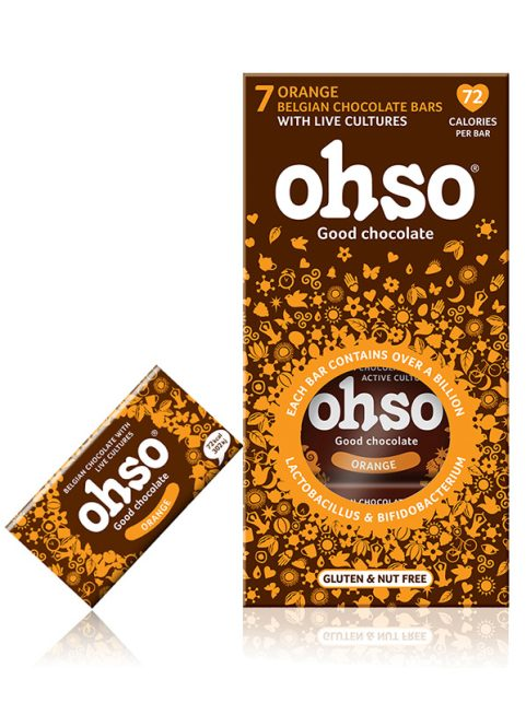 Ohso Orange no added sugar. Good chocolate. probiotic Belgian Chocolate